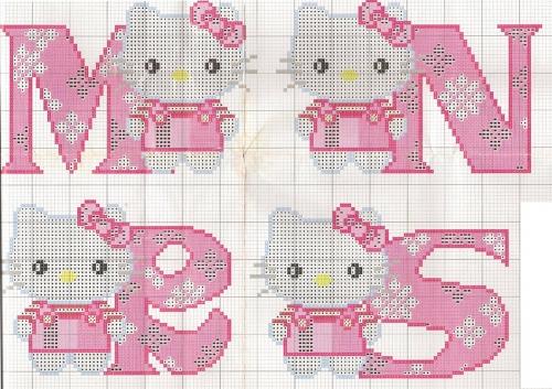 cross stitch hello kitty,punto croce,hello kitty,alfabeto,